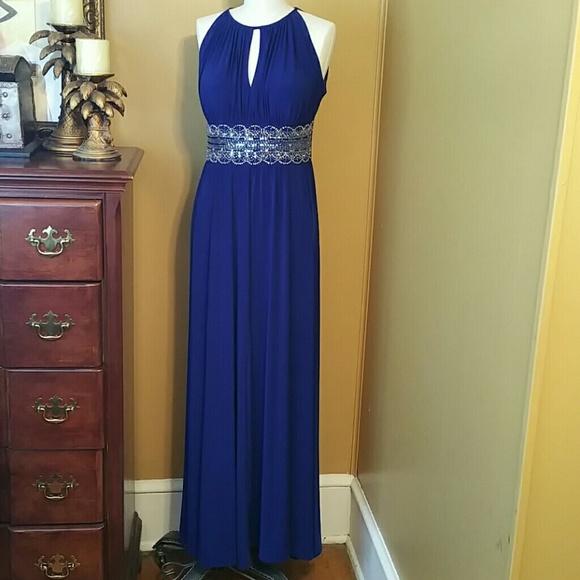 R & M Richards Dresses | Rm Richards Sleeveless Beaded Formal Halter ...